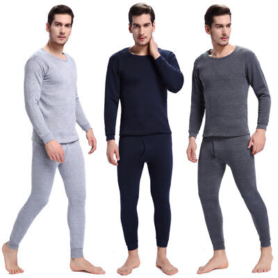 Men's Midweight Thermal Underwear Set Top & Bottom Waffle for Winter