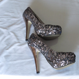 Silver sequined platform party shoes