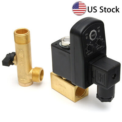 Electronic Timed Air Compressor Gas Tank Automatic 2way Drain Valve AC 110V 1/2