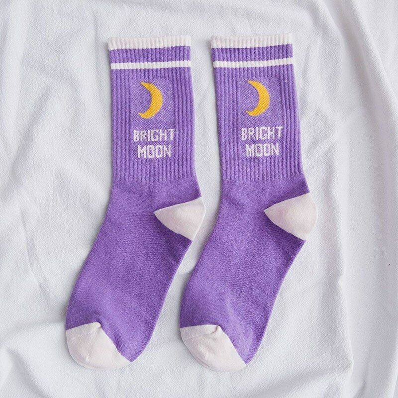 Moon Prints Cotton Socks Korean Woman Short Socks With Letters Funny Sock