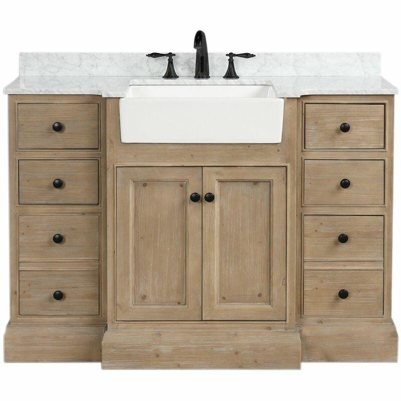 "Ari Kitchen & Bath Kelly 48"" Solid Wood Bathroom Vanity in Weathered Fir"