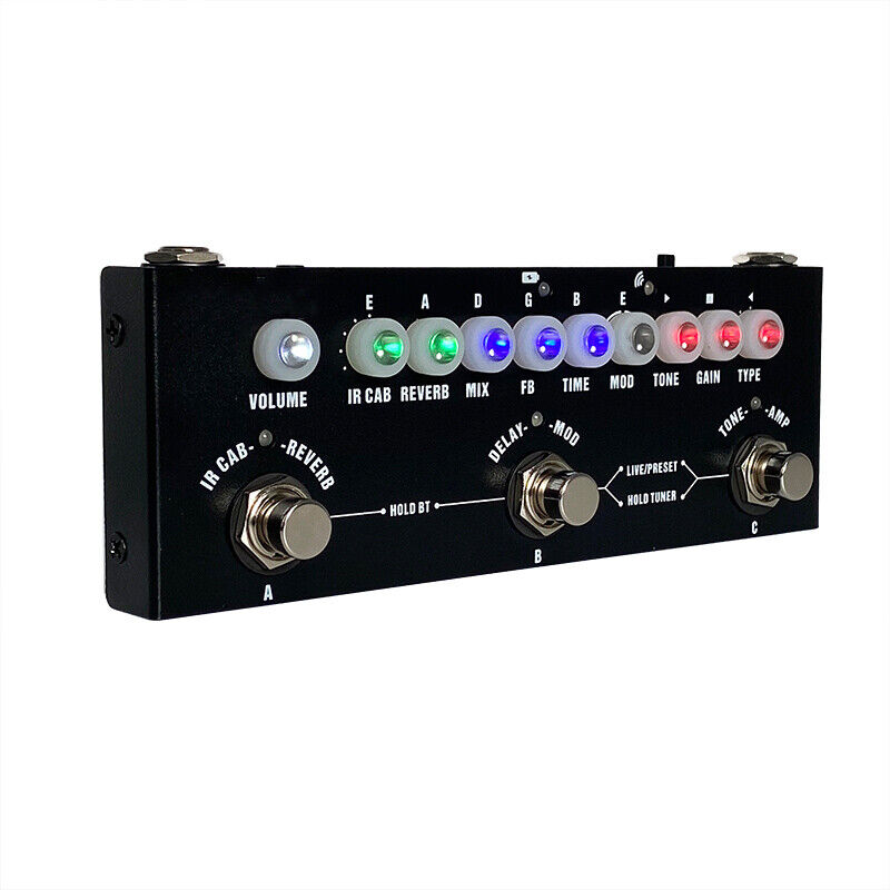 Guitar Multi-Effects Pedal 9 Preamp Reverb Delay Chorus 8 IR Cabinet Simulation