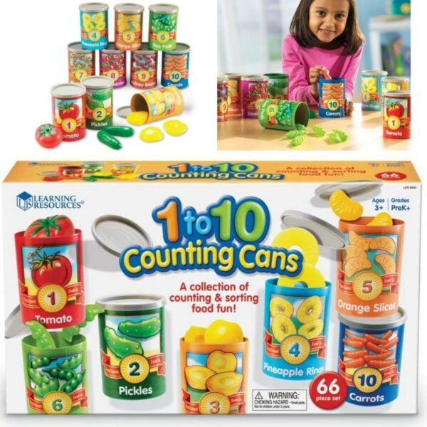 BNIB: Learning Resources One To Ten Counting Cans Toy Set, 65 Pieces