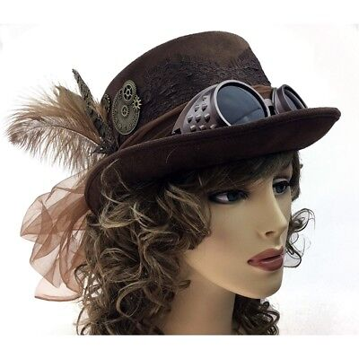 Women Top Hat (Steampunk Women Top Hat Feather Halloween Costume Cosplay Party With Goggles  )