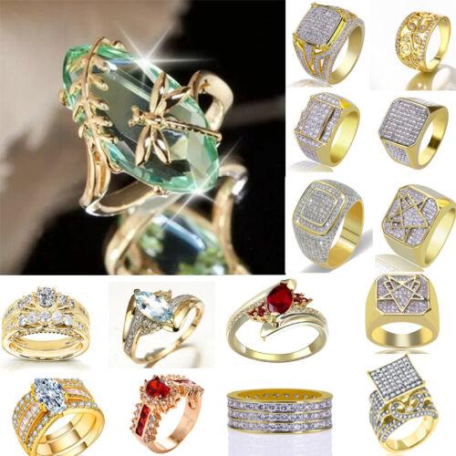 women men 18k yellow gold gemstone rings