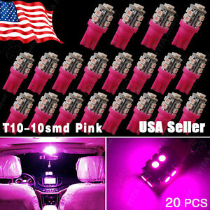 20X Pink/Purple T10 Wedge 10SMD LED Interior Light Bulb W5W 2825 158 168 192 194
