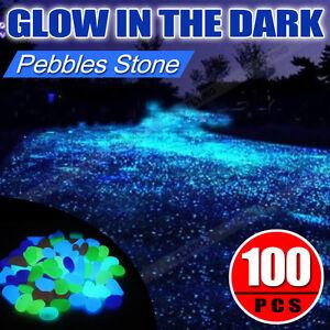 100pc glow in the dark fluorescent pebbles stones garden walkway parterre decor ebay for Glow in the dark garden pebbles