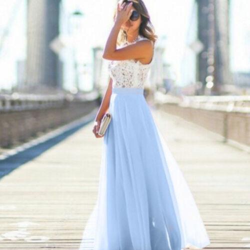 Damen Spitze Abendkleider Sommer Maxikleid Lang Party Hochzeit Kleid Gr.34  44. Blau - Boho Ärmellos Partei Strandkleid Sommerkleid 545e49b4c3