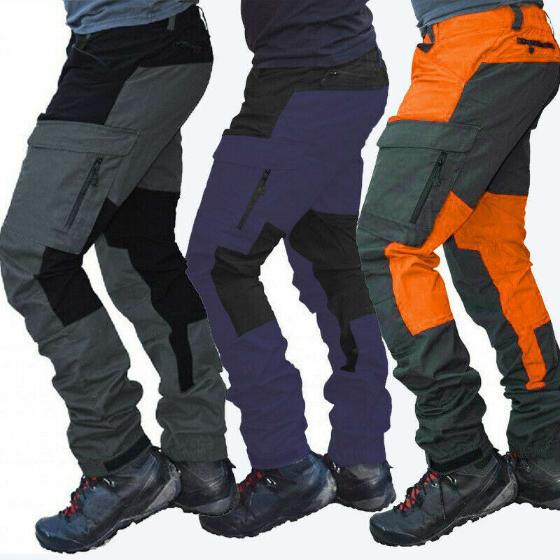 Mens Work Pants Motorcycle Overalls Reinforcement Workwear Trousers Multi Pocket