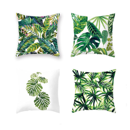 9 Styles Natural Pillows Case Green Leaves Throw Sofa Offici