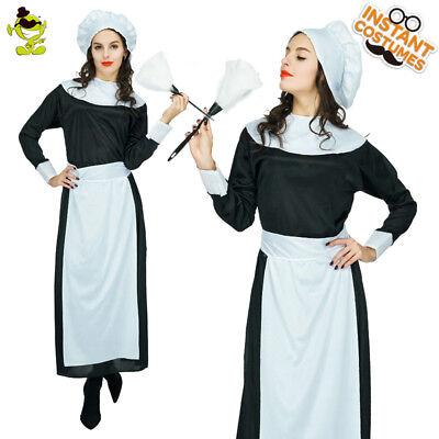 Women Mermaid Pilgrim Costume Bonnet Apron Dress Fancy Chirstmas Cosplay Costume
