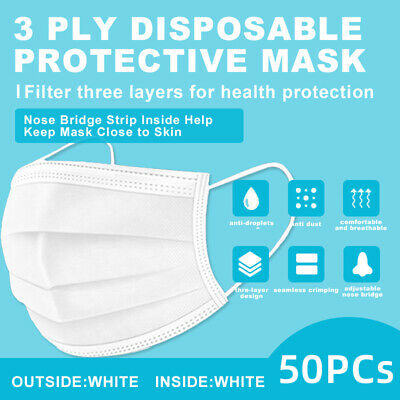 50 Pcs White Face Mask Disposable Non Medical Surgical 3-ply Earloop Mask