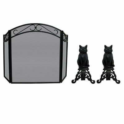 2 Piece Fireplace Tool Set with Cast Iron Cats & Fold Arch Top Screen in - Arches Tool Set
