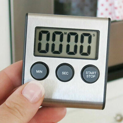 LCD Digital Kitchen Cooking Timer Count-Down Up Clock Loud Alarm Stainless Steel Stainless Steel Kitchen Clock