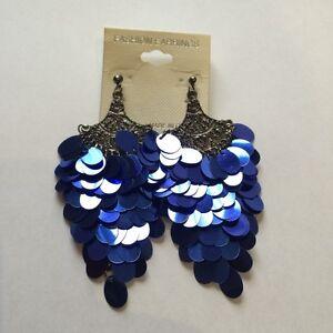 Funky Silver & Royal Blue Belly Dance Earrings *BRAND NEW*