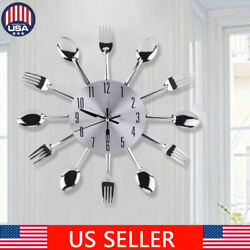 12 inch Stainless steel knife & fork spoon kitchen restaurant wall clock Home 3D