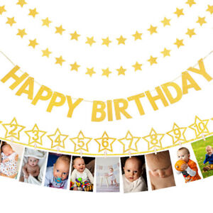 Gold 1st First Birthday Party Supplies Decorations Photo Banner