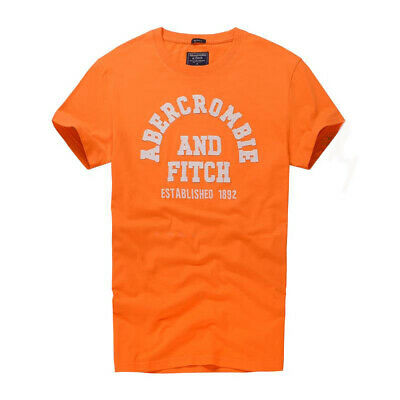 New Abercrombie & Fitch Men T shirt AF Muscle Fit Tee Orange size S M L XXL UK