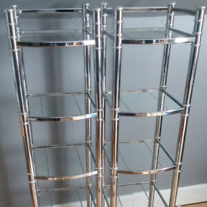 Glass shelving units and mirror
