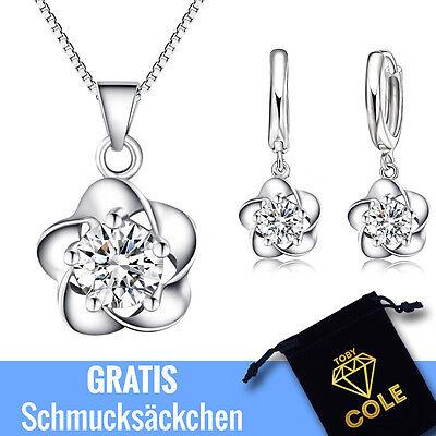 Schmuckset - 925er Sterling Silber Halskette Set Ohrringe Geschenk Zirkonia