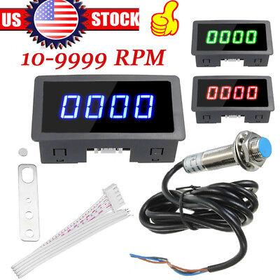1pc 4 Digital Led Tachometer Rpm Speed Meter Hall Proximity Switch Sensor Npn