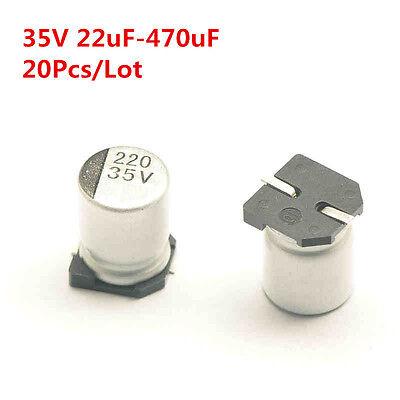 20pcs 35v 22-470uf 47 4.7 33 100 220 330 Uf Smd Aluminum Electrolytic Capacitor
