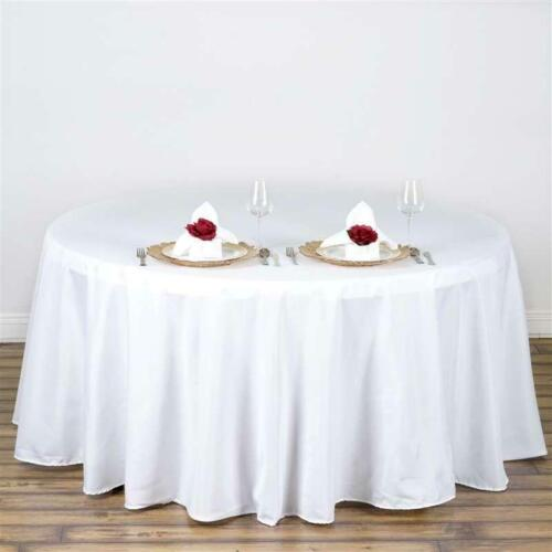 """10 Pack132"""" Round High Quality White Polyester Tablecloths Made in USA"""