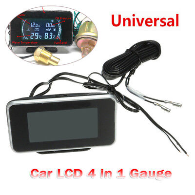Car LCD 4 in 1Gauge(Water Temperature/Oil Pressure/Fuel/voltage Gauges)Universal