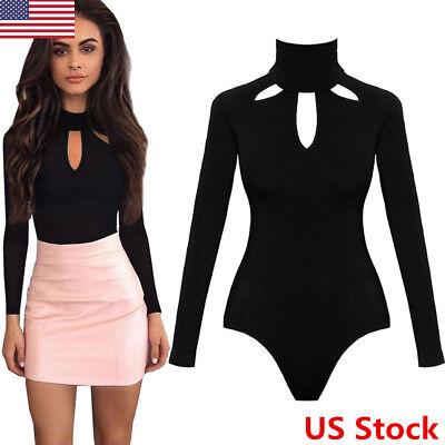 US Black Bandage Jumpsuit Romper Leotard Top Women's Bodysuit Sexy Long Sleeve (Black Leotard Long Sleeve)