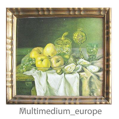 Jugendstil Bild Lithographie M. Kricheldorf 1919 goldener Rahmen Stilleben