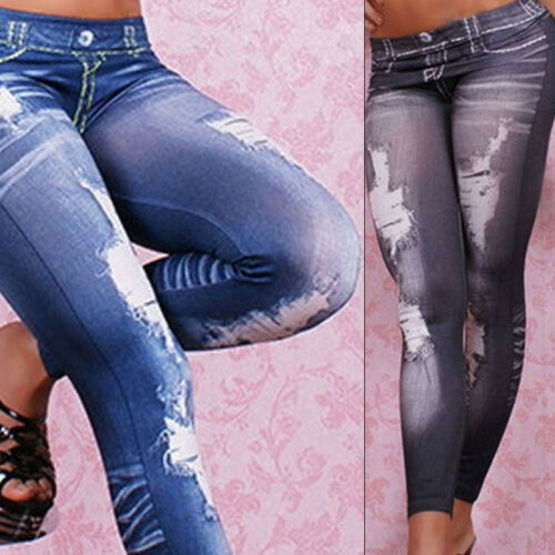 Women Ripped High Waisted Skinny Fit Jeans Ladies Stretchy D