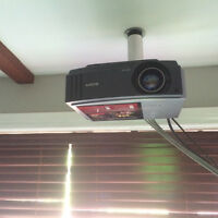 """FULL HOME THEATRE SYSTEM WITH 10' SCREEN (132"""") & NEW BULB"""