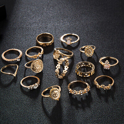 15 Pcs/set Gold Midi Finger Ring Set Vintage Punk Boho Knuckle Rings Jewelry NEW Fashion Jewelry