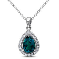 Emerald and Created White Sapphire Teardrop Halo Pendant with Ch