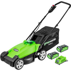 Greenworks 35cm 40v Lithium-Ion Cordless Lawnmower, 2 X Batteries & Charger Inc