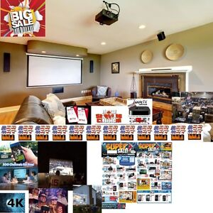 "New 72""IMAX 4K 3D Smart TV-Projector+Screen+300Channels+Speakers"