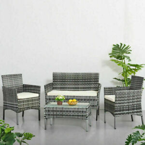 4 piece Rattan Garden Furniture Set Chair Sofa Table Garden Patio Furniture