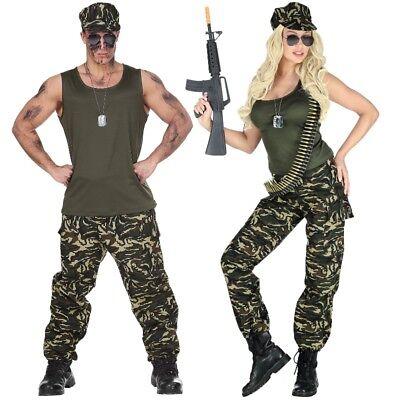 Soldat Soldatin Partner Kostüm für Damen und Herren Camouflage Armee Outfit - Partner Kostüm Für Damen