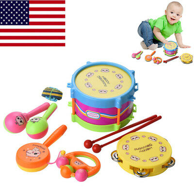 6 Pcs Kids Baby Drum Musical Instruments Band Kit Children Toy Musical Toys Set