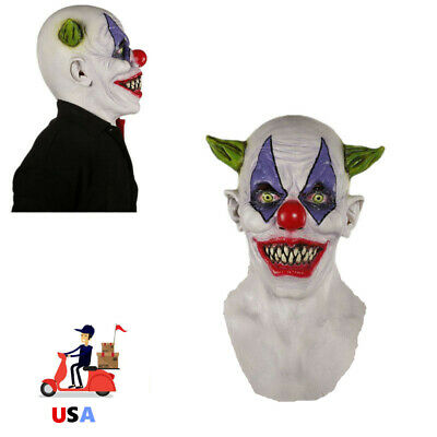 Creepy Evil Scary Clown Mask Rubber Latex GREEN HORNED CLOWN Party Cosplay Gift - Latex Clown