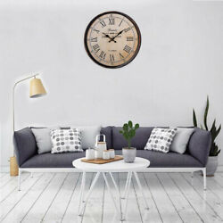 40cm/16inch Classic Wooden Wall Clock Large Art Round Analog For Wedding Gifts