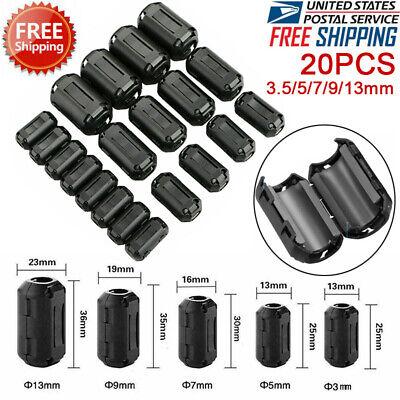 20pcs Ferrite Bead Choke Coil Ring Core Rfi Emi Noise Filter Snap On Cable Clip