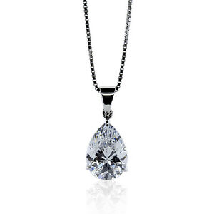1.00CT PEAR SOLITAIRE DIAMOND PENDANT 14K SOLID WHITE GOLD PEAR DIAMOND NECKLACE