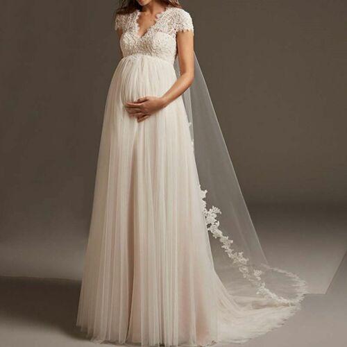 Bridal Pregnant Wedding Dresses Empire Cap Sleeve Open Back Tulle Lace Appliques