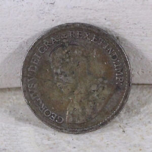 Vintage Sterling Silver - 1920 CANADA George V 5 Cents Coin