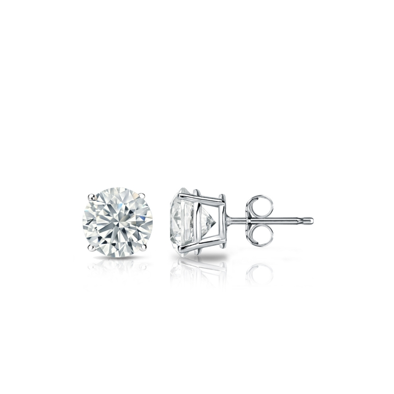 $10.99 - 1/4 Ct Diamond Stud Earrings 3MM Round Diamond Solitaire Earrings 14k White Gold