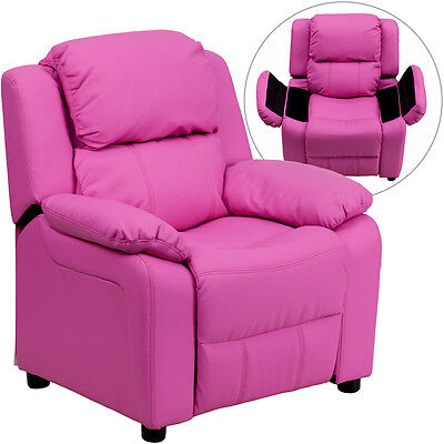 Flash Furniture Contemporary Hot Pink Vinyl Padded Kids Recliner w/ Storage Arms - Hot Pink Chairs