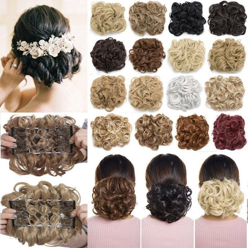 Messy Curly Hair Bun Extensions Easy Stretch hair Comb Clip