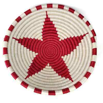 """Fair Winds Trading Rwanda African RED Star Basket Hand-crafted 12"""" NWT"""