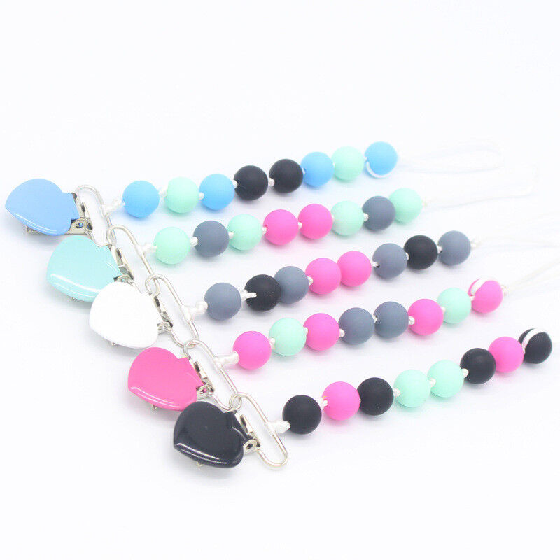 Food Grade Silicone Teething Pacifier Clips Soother Chain Leash Strap Chew Toys